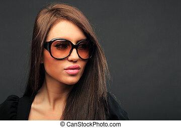 beautiful long hair brunette woman portrait