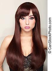 Beautiful long hair female model looking sexy