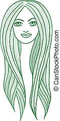 Beautiful long-haired girl - Beautiful vector long-haired ...