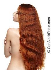 Beautiful long red hair woman