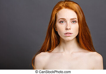 long red health hair of young attractive woman