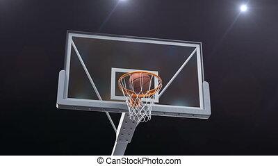 Beautiful Long Throw in a Basketball Hoop Slow Motion Camera Fly. Ball Flies Spinning into Basket Net Stadium Blue Spotlights Flares. Sport Concept 3d Animation 4k UHD 3840x2160.