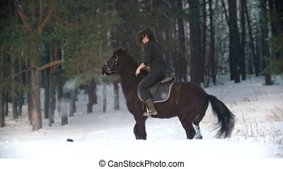 Beautiful longhaired woman riding a black horse through the...