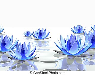 3d rendered illustration of some colorful lotus flowers