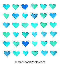 Beautiful Love Card with colorful fun watercolor hearts...