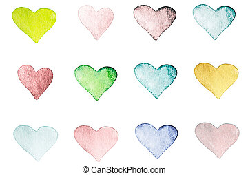 Beautiful Love Card with textured light watercolor hearts...