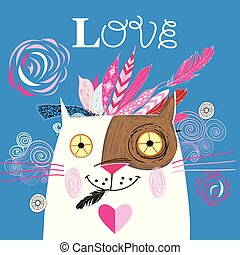 Beautiful love cat with a red heart vector illustration