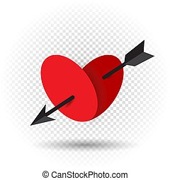 Beautiful love heart pierced by an arrow of Cupid with shadow on transparent background. Red romantic sign Valentine day symbol