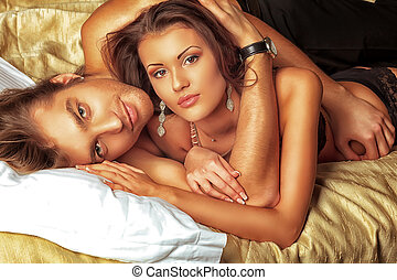 beautiful love - Sexy young couple playing in love games in...