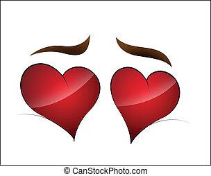 Heart Shape Cartoon Eye