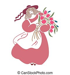 Beautiful lovely girl with rose flower in her hair and heart. Vector illustration.