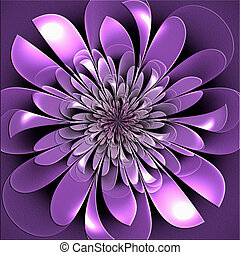 Beautiful lush fractal flower with embossed effect