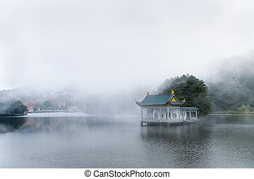 clouds and fog on the lake