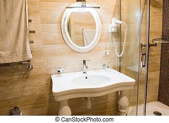 beautiful luxury bathroom with glass shower