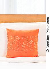 Beautiful luxury bedroom interior with orange pillow decoration in hotel resort