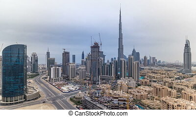 Beautiful luxury Dubai downtown aerial top view before...