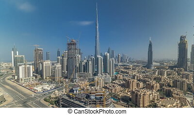 Beautiful luxury Dubai downtown aerial top view during all...