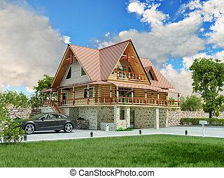 luxury home - Beautiful luxury home (3D rendering)