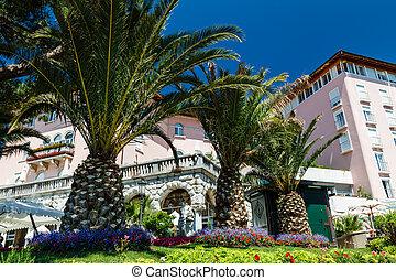 Beautiful Luxury Hotel and Palm Trees in Optija, Croatia