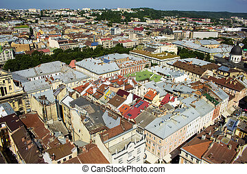 Beautiful Lviv city in sunny day