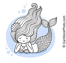 Beautiful lying dreamy mermaid.