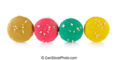 beautiful macaroons on white background