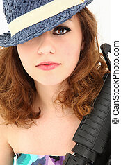 Beautiful Mafia Girl Costume with Riffle Portrait