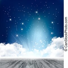 Beautiful magical night background with moon and stars. Vector.