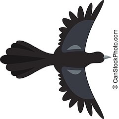 Beautiful magpie icon, flat style - Beautiful magpie icon....