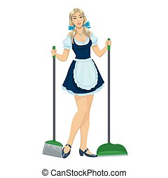 beautiful maid with a broom and dustpan