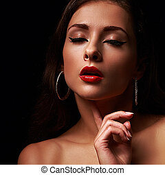 Beautiful makeup female model with red lips and black eyeliner