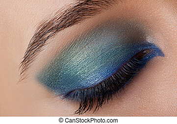 girl with bright colored makeup - beautiful makeup. girl ...