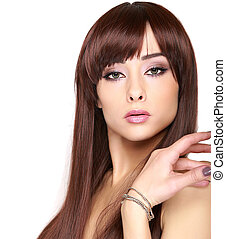 Beautiful makeup woman with brown hair isolated. Closeup portrait
