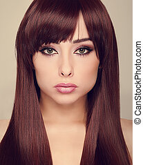 Beautiful makeup woman with long shiny hair. Vogue closeup portrait