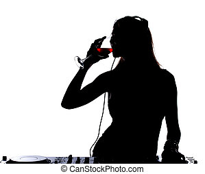 DJ - Beautiful male DJ with her headphones is standing at...