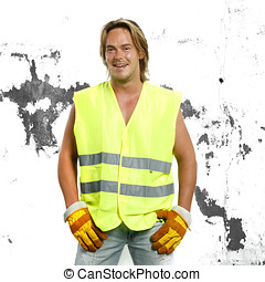 beautiful man in safety outfit - beautiful man in safety...