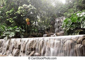 beautiful man-made waterfall in the