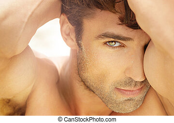 Beautiful man up close - Closeup portrait of a beautiful...