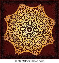 mandala - beautiful mandala on dark red background with...