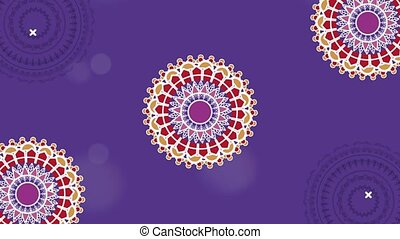 beautiful mandalas pattern in purple background ,4k video animated