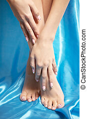 Beautiful manicured feet with a neat pedicure - Image of...