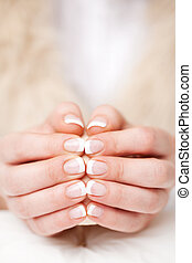 Beautiful manicured fingernails - Woman displaying her...