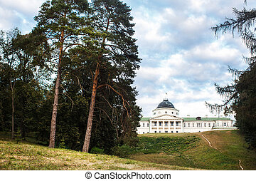 Beautiful Mansion On A Hill Around The Trees And Green Grass