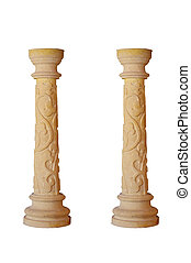 beautiful marble column on a white background. Isolated