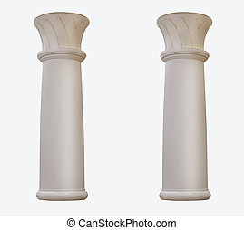 beautiful marble two column on a white background. Isolated