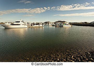Beautiful marina close to a shallow coastline