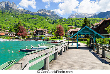 beautiful marina in Talloires village on Lake Annecy, France...