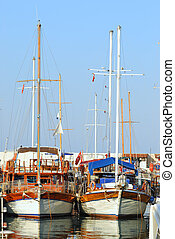Beautiful marina view, sailboats in harbor of Kemer. Turkey
