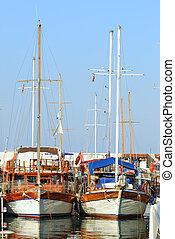 Beautiful marina view, sailboats in harbor of Kemer. Turkey