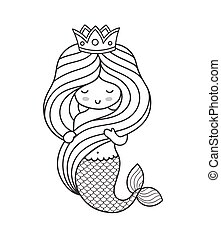 Beautiful marmaid with crown, holding her hair.